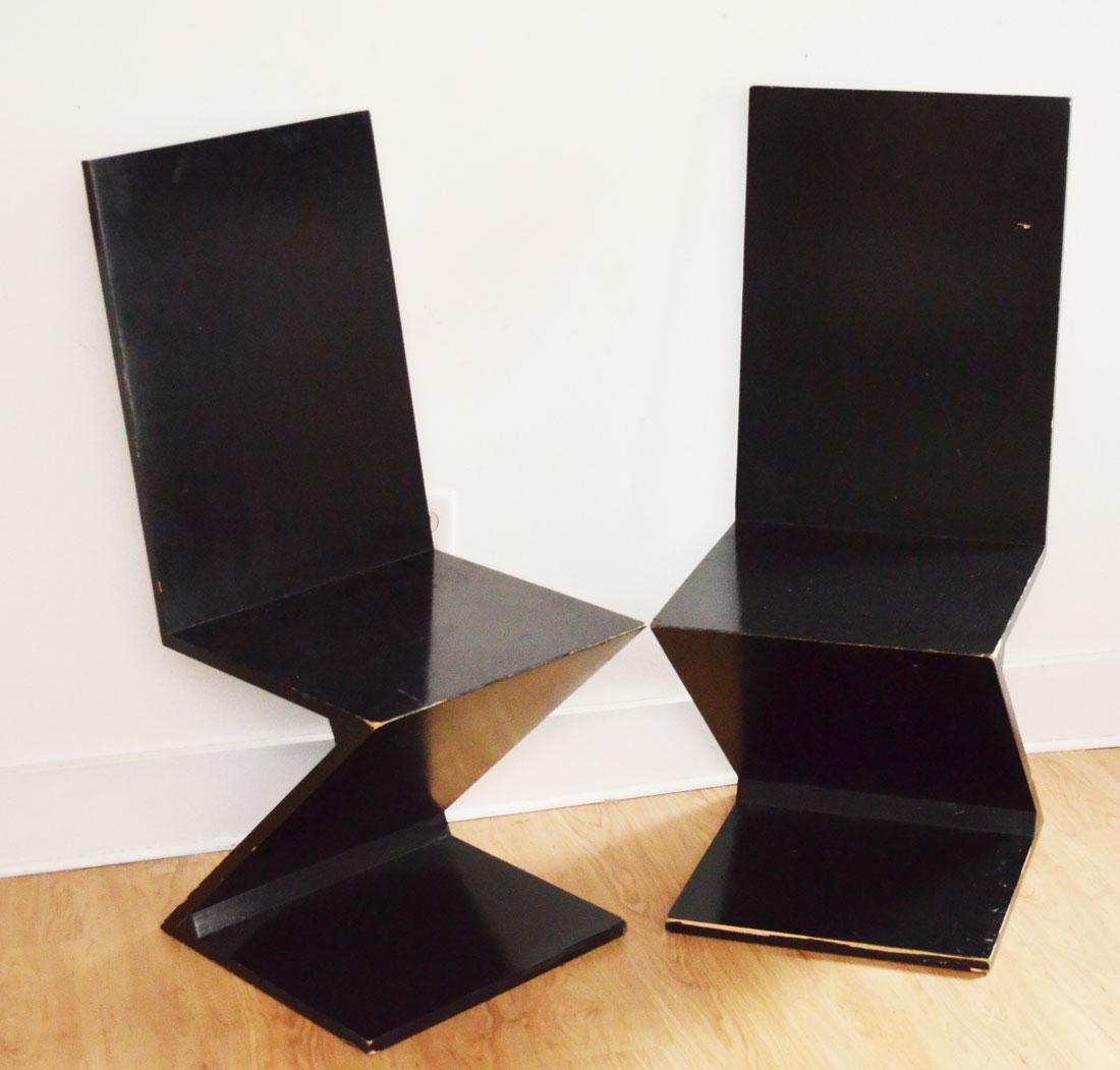 "Pair of Black Gerrit Thomas Rietveld ""Z Chairs"""