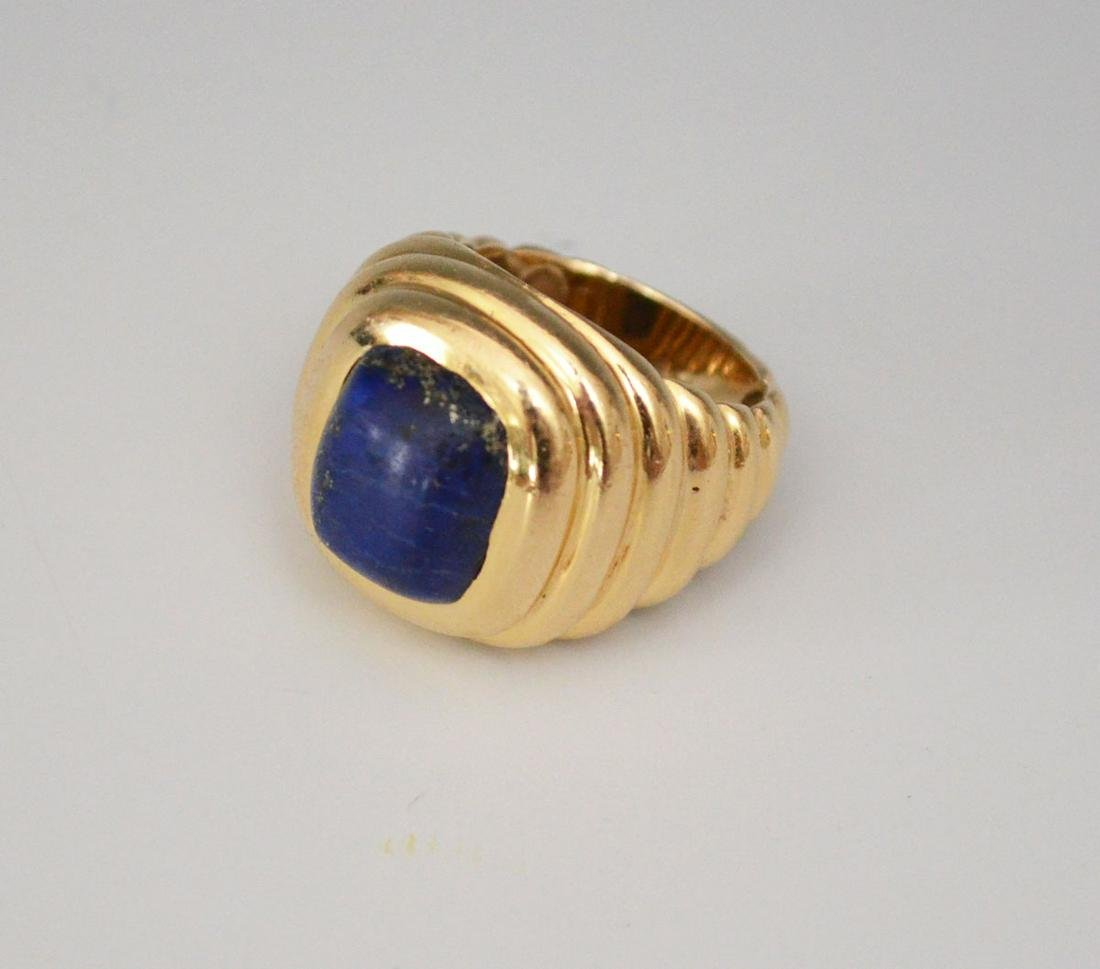 Modernist Men's 14k Gold Ring With Lapis