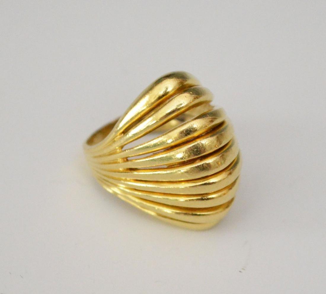 14k Gold Modernist Open Dome Ring
