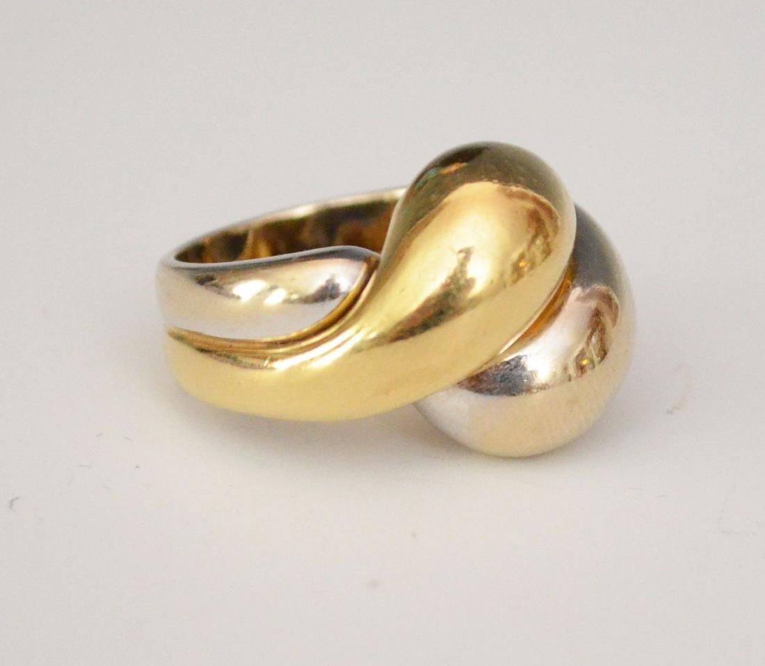 2 Tone 14k Gold Interlocking Dome Ring
