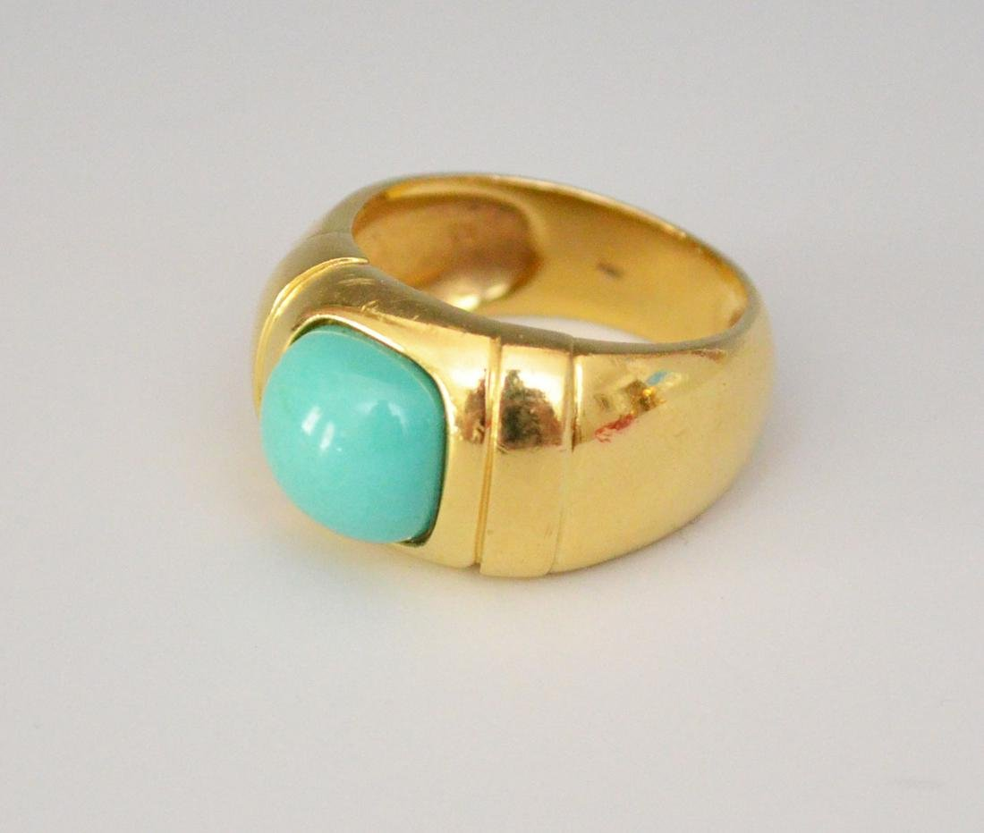 14k Gold & Turquoise Modernist Ring