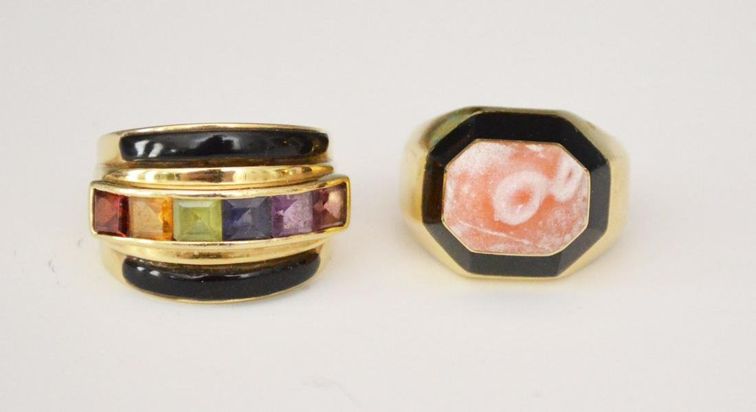 2 Stunning 14k Gold & Stone Rings