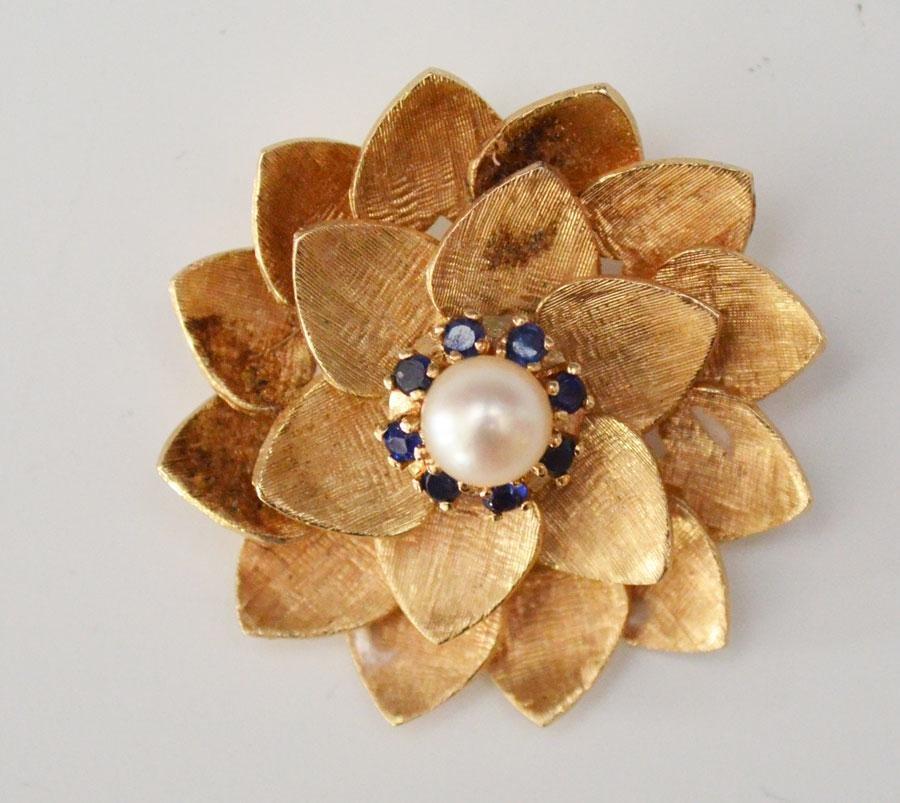 14k Gold Pearl & Sapphire Flower Pin