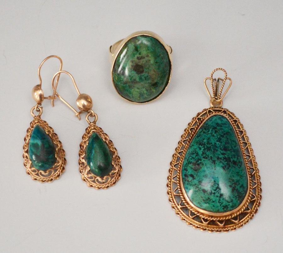 Filigree 14k Gold Earrings, Ring & Pendant Set