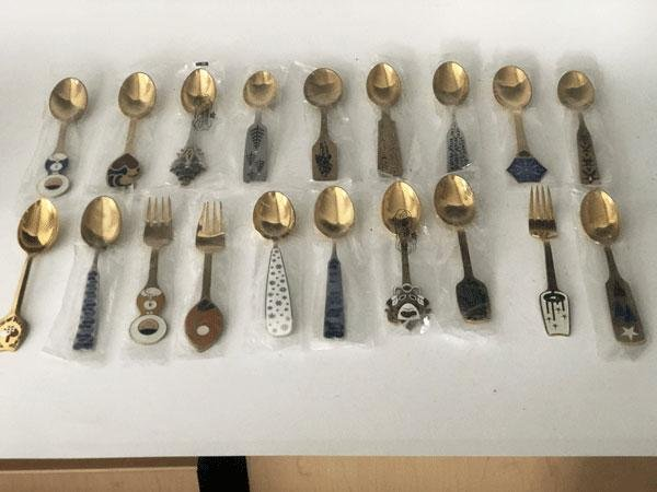 19 Gilded Sterling  A. Michelsen Spoons and Forks