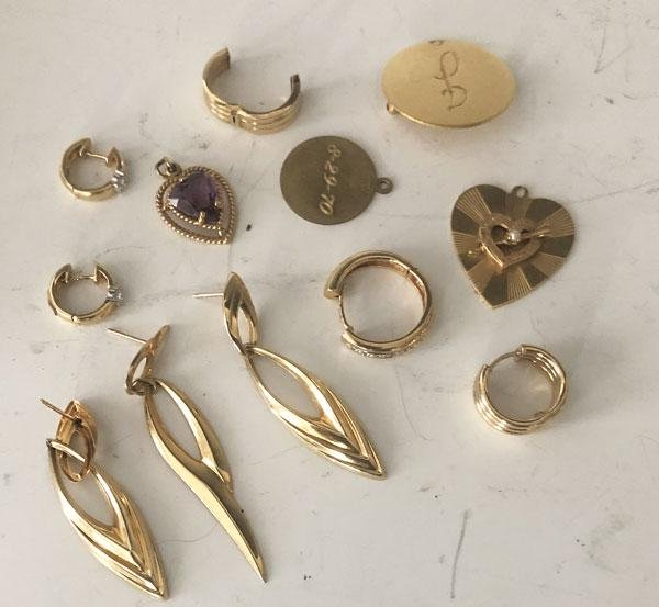 Lot Of  Vintage 14k Gold Charms, Earrings
