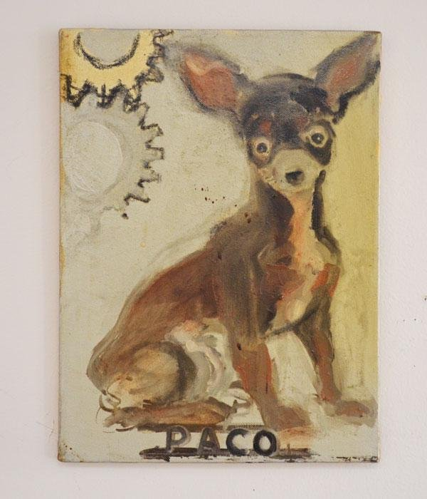 Oil painting Of Paco The Dog Signed  Juan Torcoletti