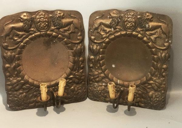 2 Armorial Crest Embossed Copper Wall Sconces