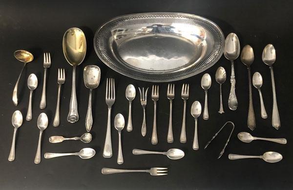 Lot Of Vintage Sterling Silver Plates & Flatware