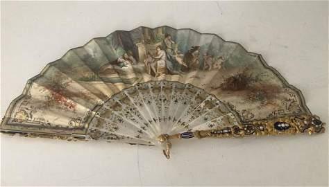 Rare Dazzling Gold & Jeweled 19th Century Folding Fan