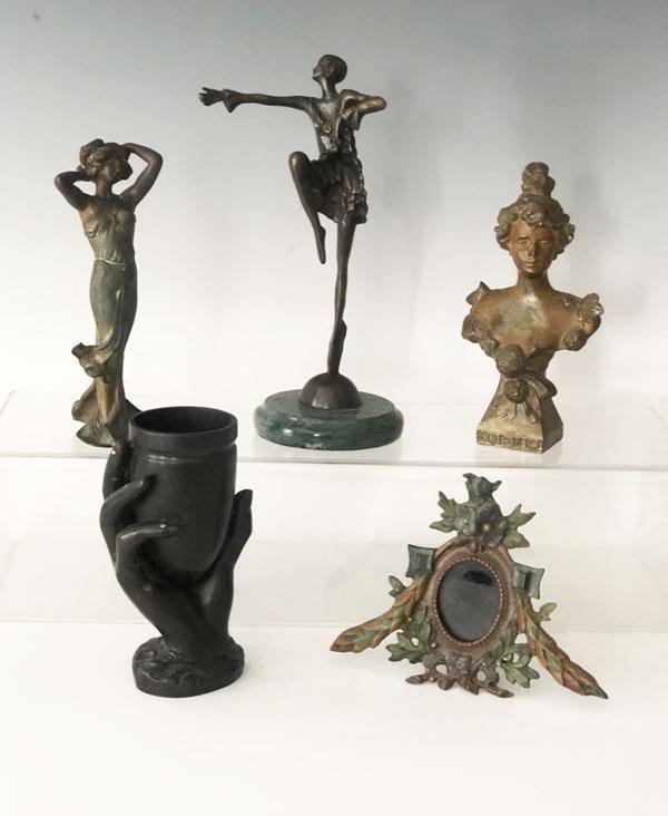 Lot Of Vintage Bronze & Metal Figural  Statues
