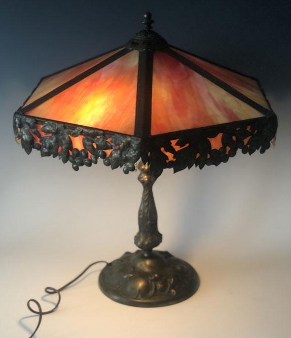 Stunning Bronze Apollo Leaded  Glass Table Lamp