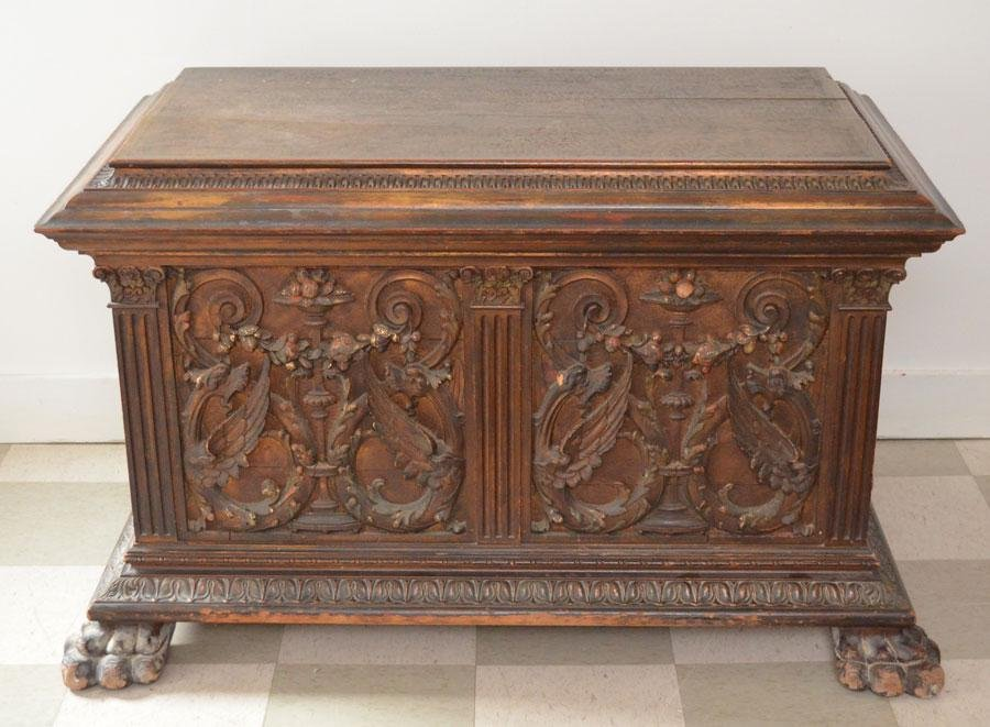 Heavily Carved Antique Trunk With Paw Feet