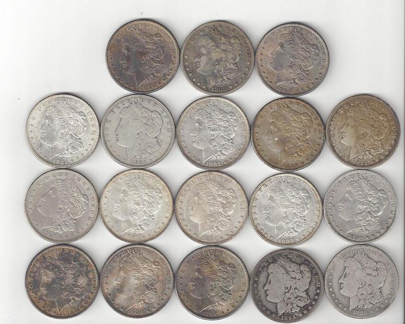 Lot Of Eighteen  1880's Morgan Silver Dollars