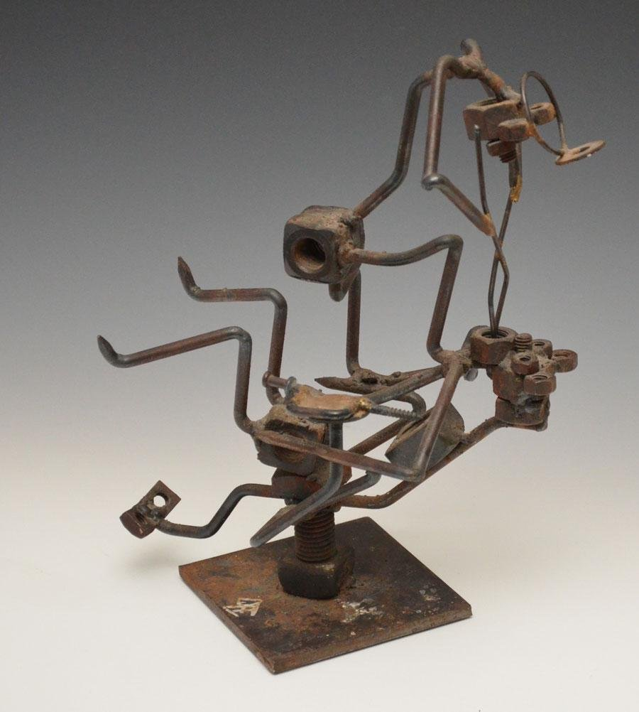 Whimsical Signed Iron Sculpture Of A Dentist