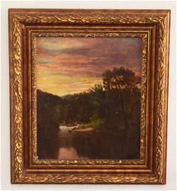 Serene Harrison Bird Brown Riverscape Painting