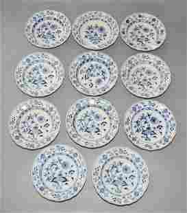 11 Antique Meissen Soup Bowls