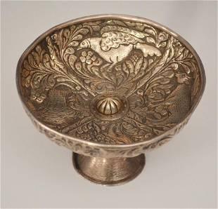 Rare Russian Repousse Silver Compote / Tazza