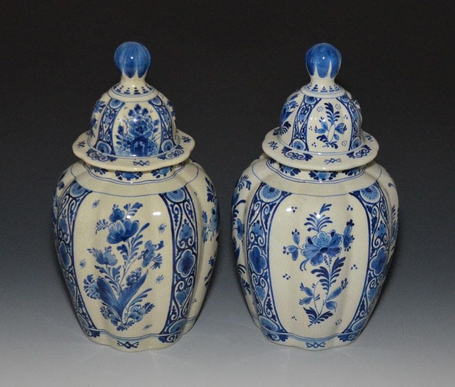 Pair of Royal Delft Covered Urns