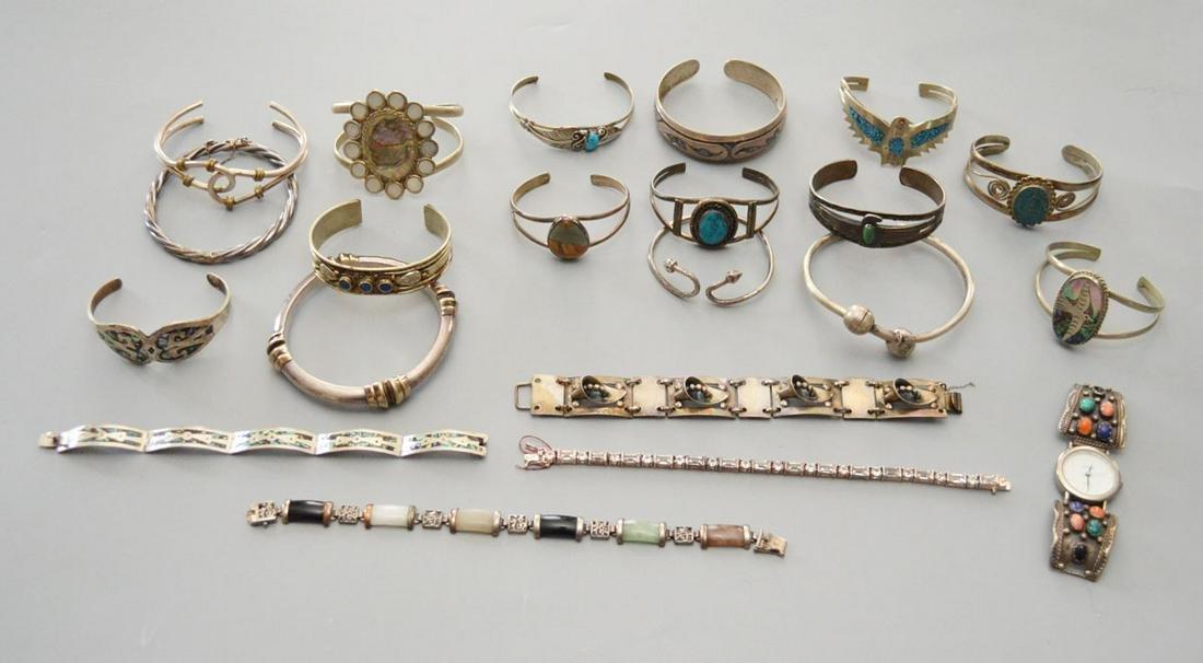 Large Lot of Sterling & Silver Bracelets