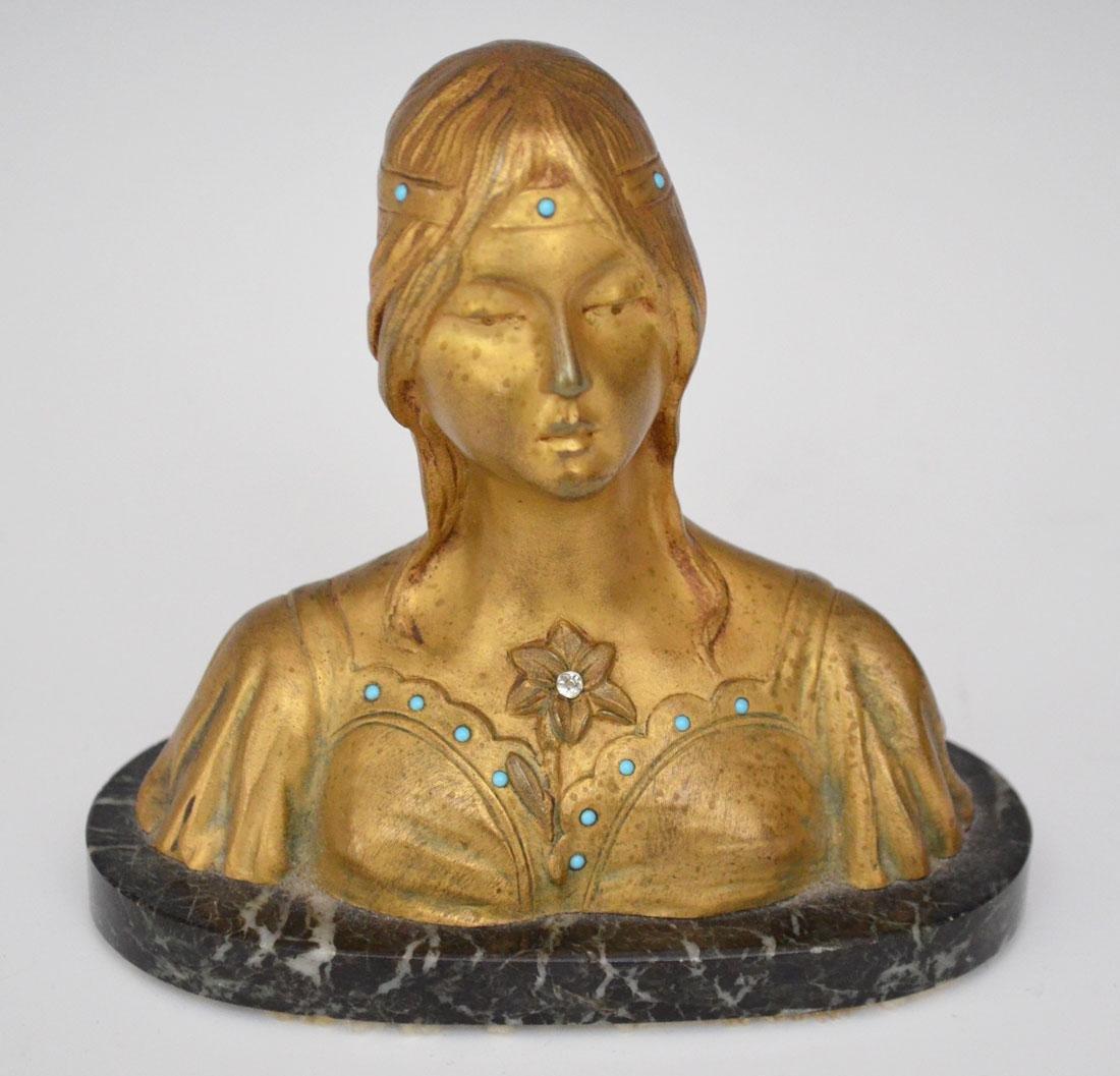 Bronze Art Nouveau Signed H. Fuger Bust