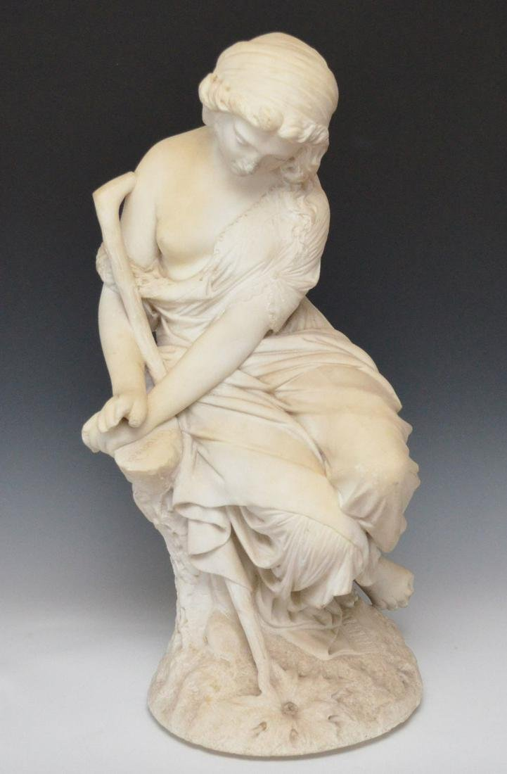 Carved Marble Woman Signed Caneredi