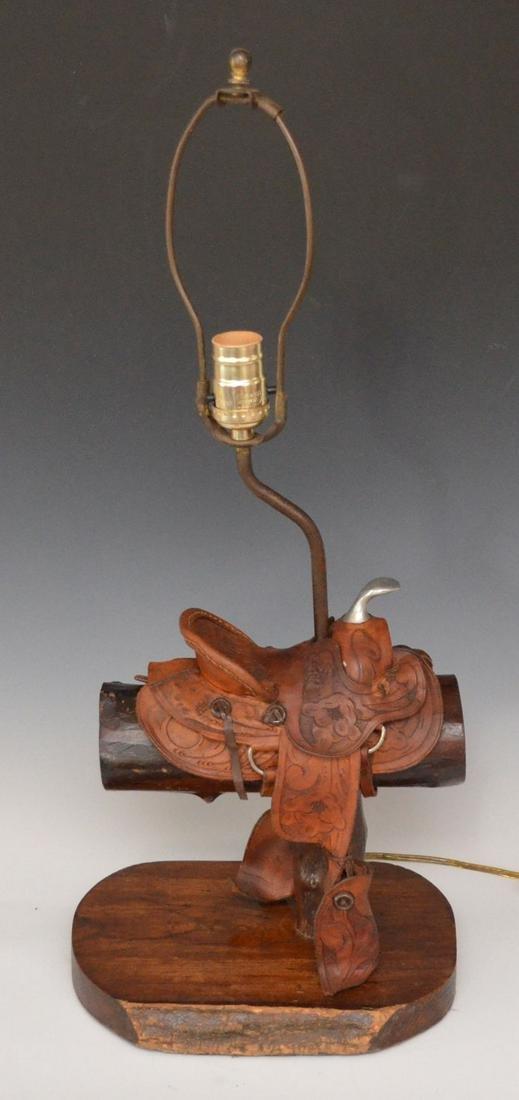 Fun Vintage Embossed Leather Saddle Lamp