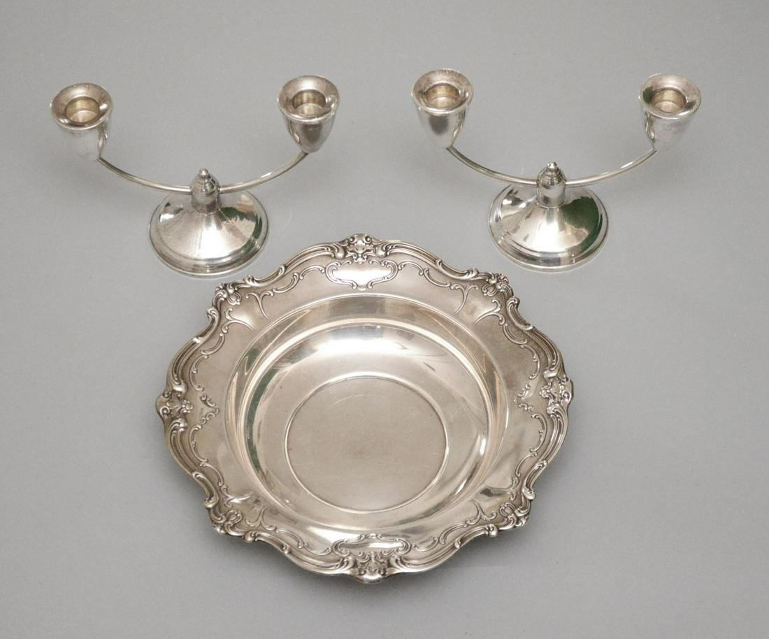 Sterling Silver Bowl & Pair of Candlesticks