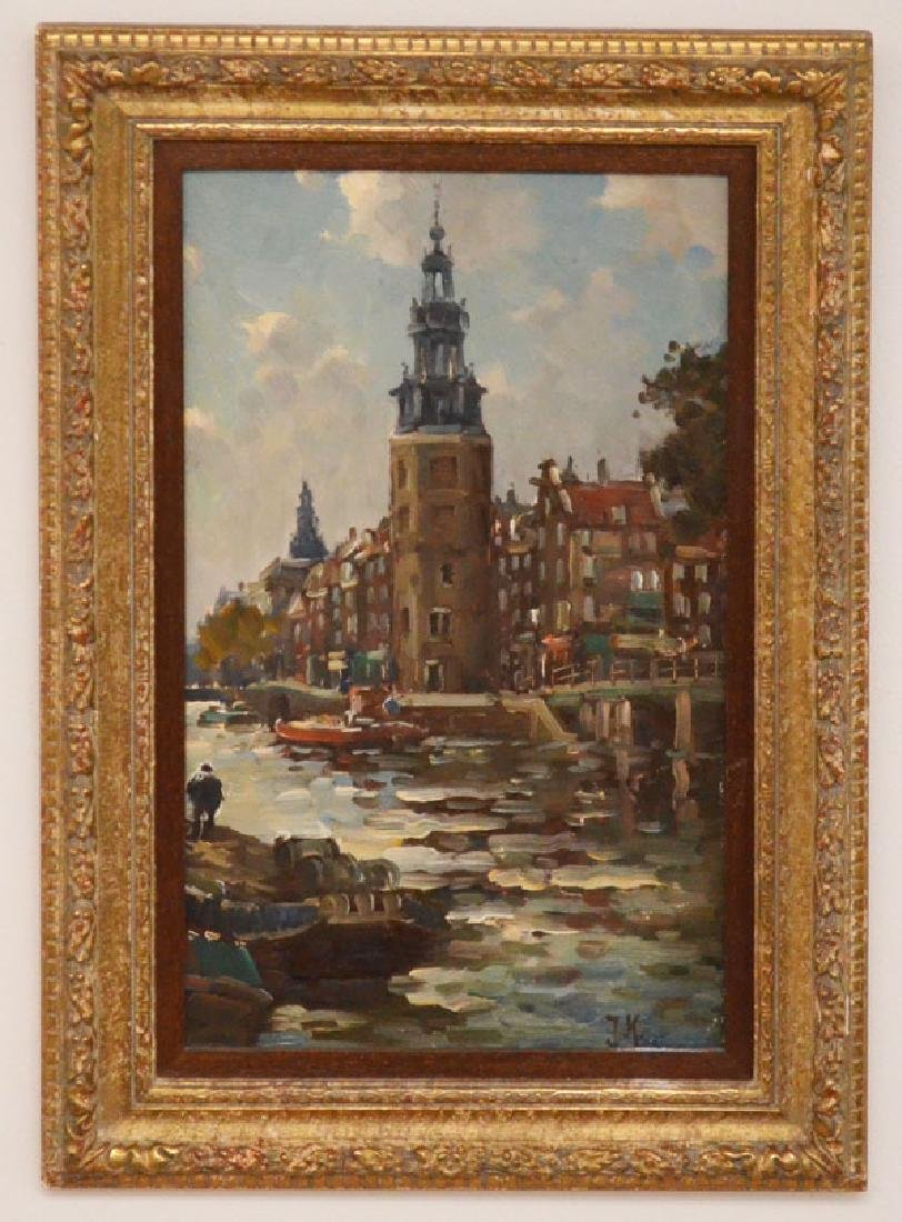 O/B Painting Of Amsterdam Signed JK