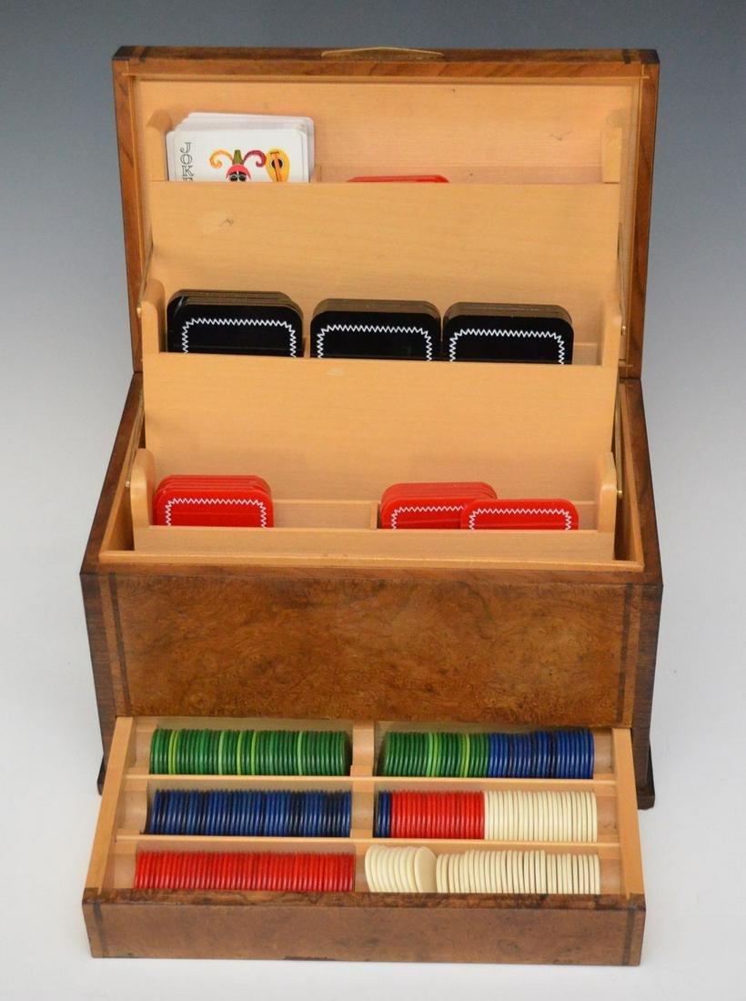 Antique Burl Wood Casino Box