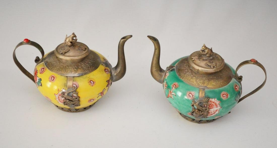 Pair of Chinese Porcelain & Silver Teapots