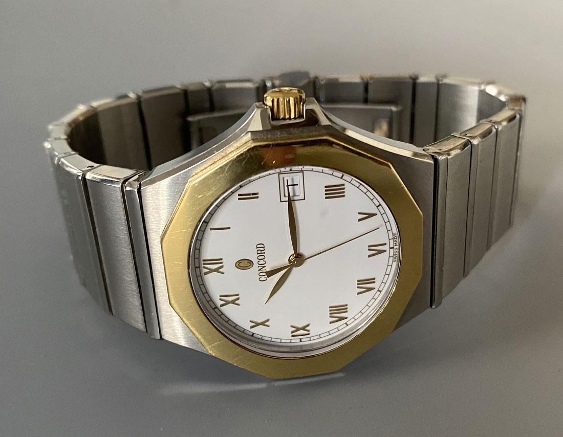 Concord  2 Tone Mariner Wrist Watch with White Dial