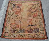 Large Antique Belgian Tapestry with Dog