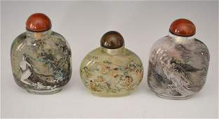 3 Vintage Reverse Painted Chinese Snuff Bottles
