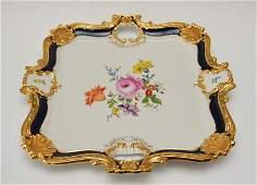 Large Cobalt & Gold Encrusted Meissen Plate