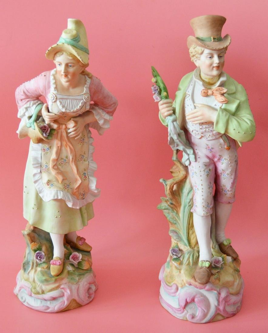 Pr Of Large Bisque Porcelain Figures