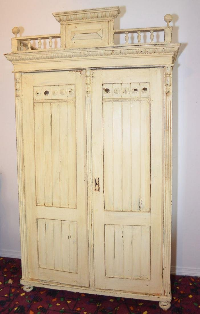 Large Painted White Pine Armoire