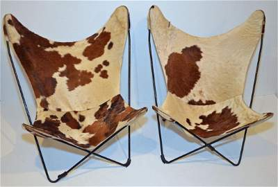 Pr. Of Cowhide Mid Century Butterfly Sling Chairs