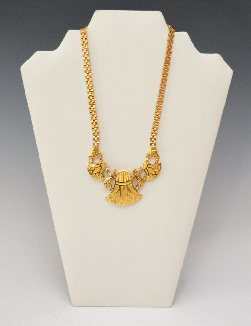 18k Gold Egyptian Papyrus Flower Necklace
