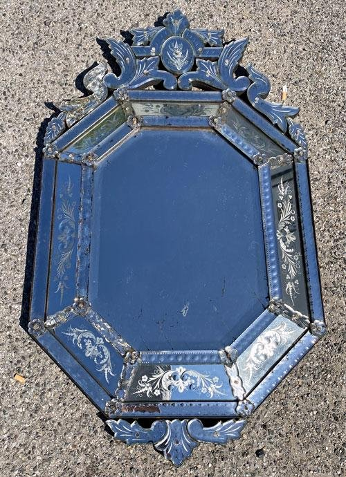 Large Antique Venetian Mirror ( Tons Of Character)