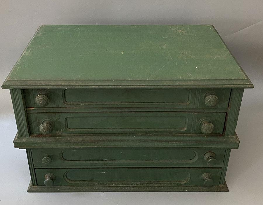 2 Antique Small Green Toolboxes