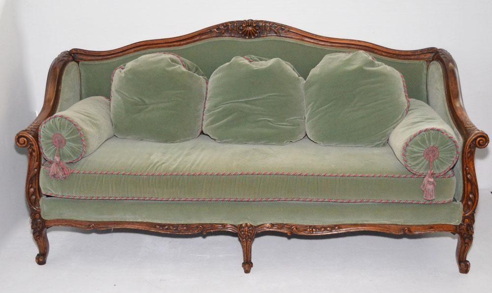 Ornate Carved Wood Green Velvet Couch