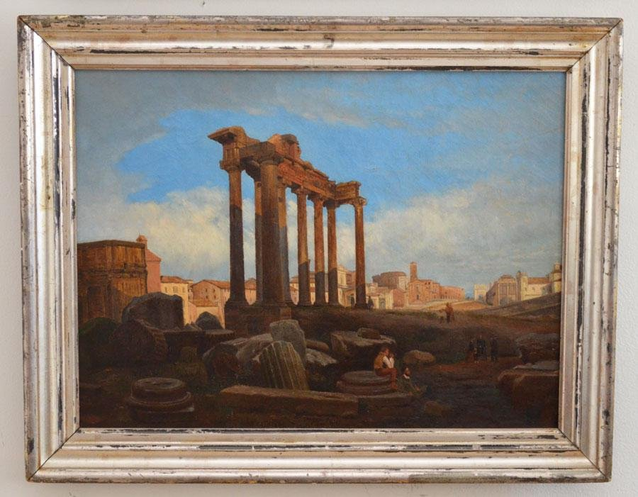 19th O/C Painting  Of Roman Ruins illegibly  Signed
