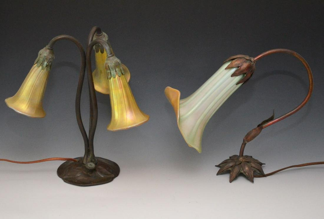 2 Tiffany Style Favrile Glass Lamps (One Sgnd Zephyr)