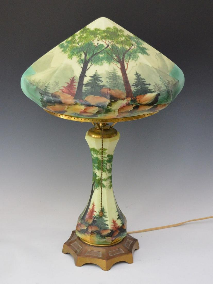 CL & G Hand Painted Glass Lamp