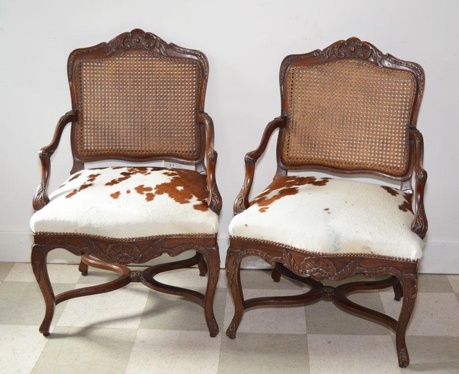 Pr of French Style Chairs w Cowhide Upholstery