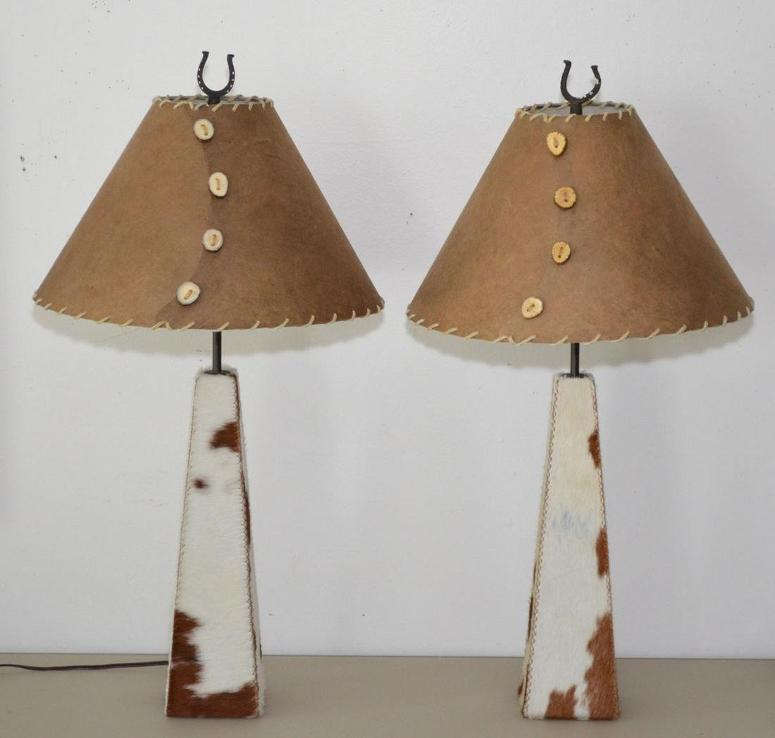 Pr of Cowhide Lamps with Custom Shades