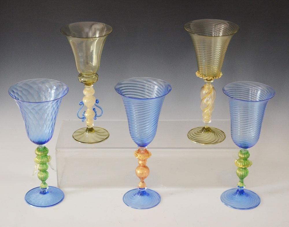 5 Lovely Signed  Estate Fresh Venetian Glasses