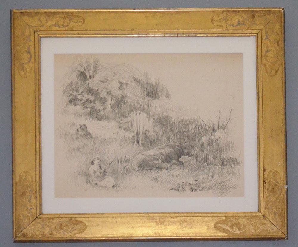 Pencil Drawing of Cows & a Girl Signed MacCallum