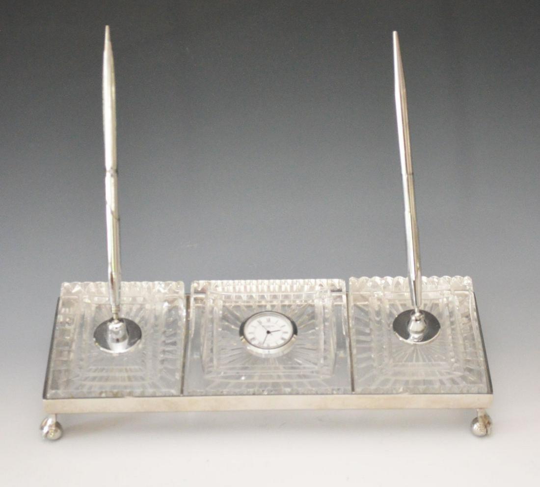 Waterford  Crystal Desk Set (Clock & Pens)